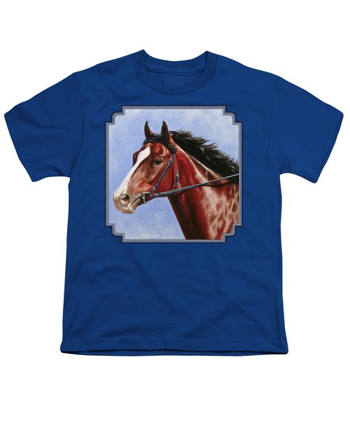 Horse Painting - Determination Youth T-Shirt by Crista Forest