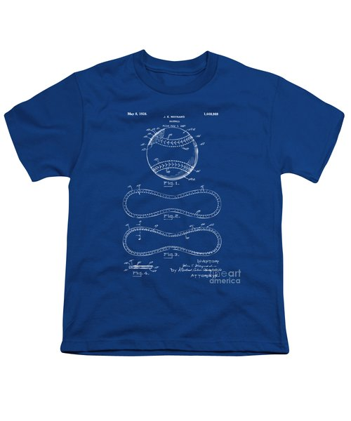 1928 Baseball Patent Artwork - Blueprint Youth T-Shirt by Nikki Smith
