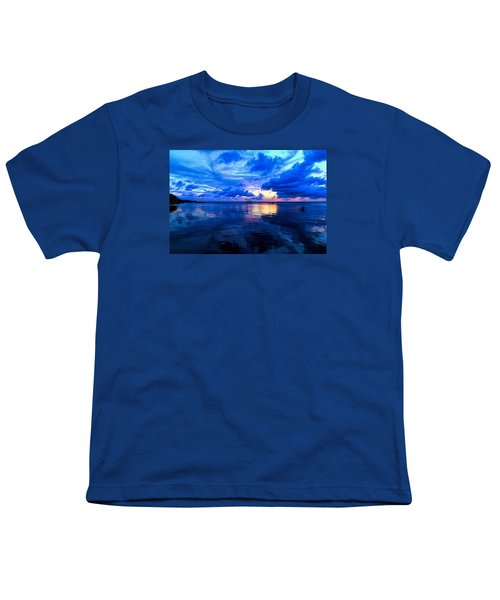 Youth T-Shirt featuring the photograph Blazing Blue Sunset by Anthony Baatz