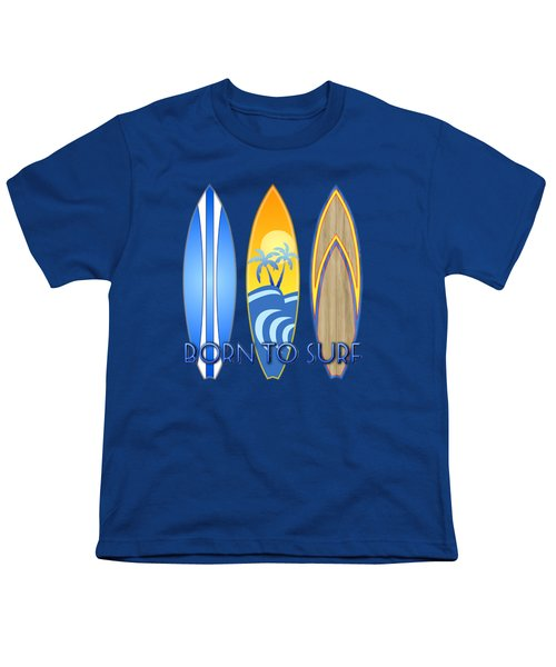 Born To Surf And Tiki Masks Youth T-Shirt by Chris MacDonald