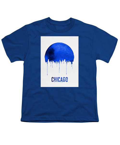 Chicago Skyline Blue Youth T-Shirt by Naxart Studio