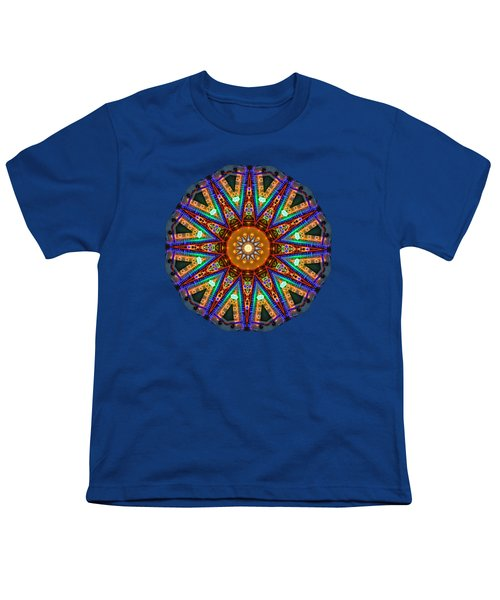 Colorful Christmas Kaleidoscope By Kaye Menner Youth T-Shirt by Kaye Menner