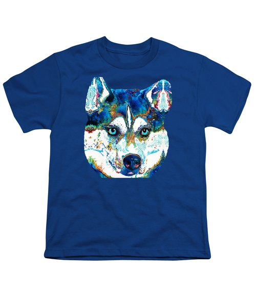 Colorful Husky Dog Art By Sharon Cummings Youth T-Shirt by Sharon Cummings
