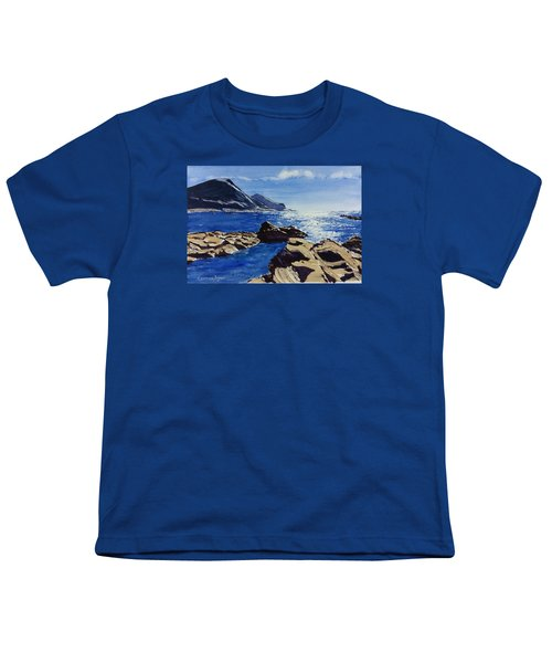 Youth T-Shirt featuring the painting Crackington Haven Sparkle by Lawrence Dyer