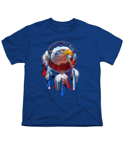 Dream Catcher - Eagle Red White Blue Youth T-Shirt by Carol Cavalaris