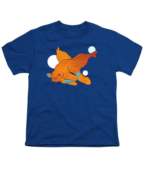 Goldfish And Bubbles Graphic Youth T-Shirt by MM Anderson