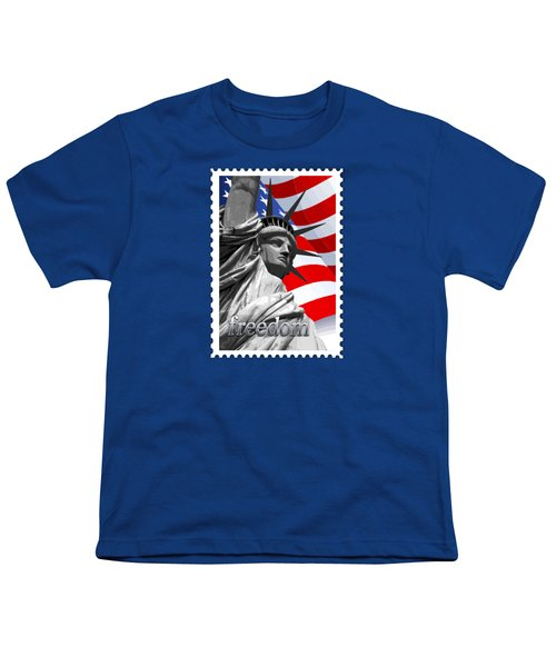 Graphic Statue Of Liberty With American Flag Text Freedom Youth T-Shirt by Elaine Plesser