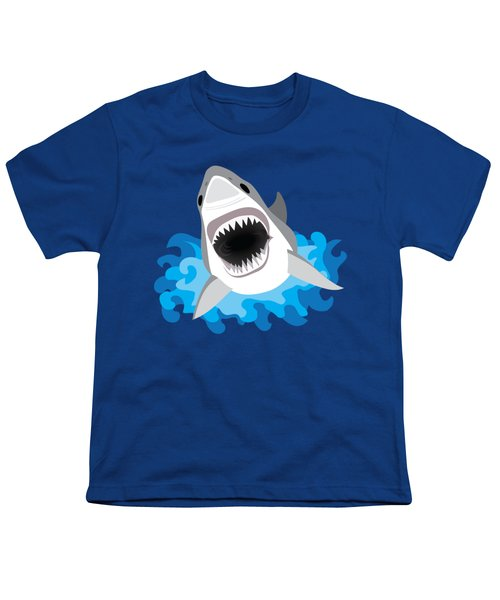 Great White Shark Leaps From Waves Youth T-Shirt by Antique Images