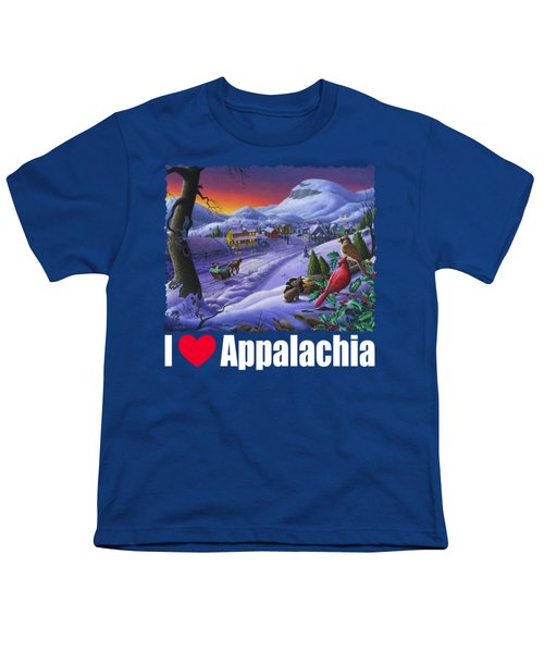 I Love Appalachia T Shirt - Small Town Winter Landscape 2 - Cardinals Youth T-Shirt