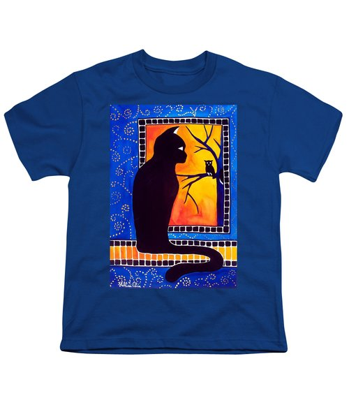 Youth T-Shirt featuring the painting Insomnia - Cat And Owl Art By Dora Hathazi Mendes by Dora Hathazi Mendes