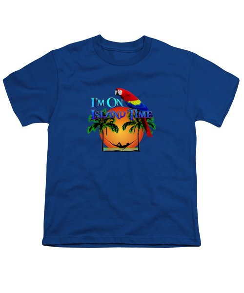 Island Time And Parrot Youth T-Shirt by Chris MacDonald
