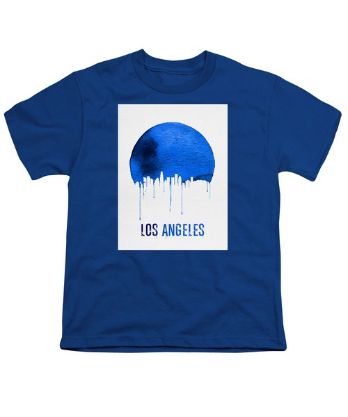 Los Angeles Skyline Blue Youth T-Shirt by Naxart Studio