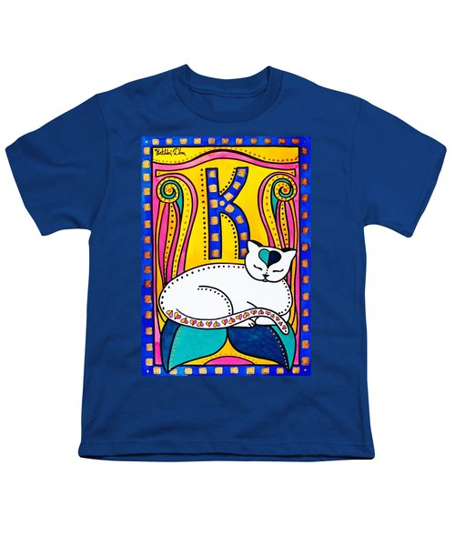 Youth T-Shirt featuring the painting Peace And Love - Cat Art By Dora Hathazi Mendes by Dora Hathazi Mendes
