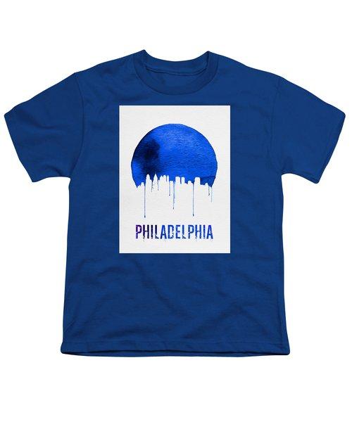 Philadelphia Skyline Blue Youth T-Shirt by Naxart Studio