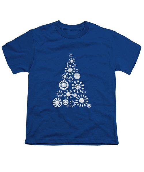 Pine Tree Snowflakes - Dark Blue Youth T-Shirt