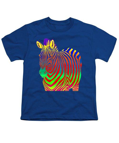 Psychedelic Rainbow Zebra Youth T-Shirt