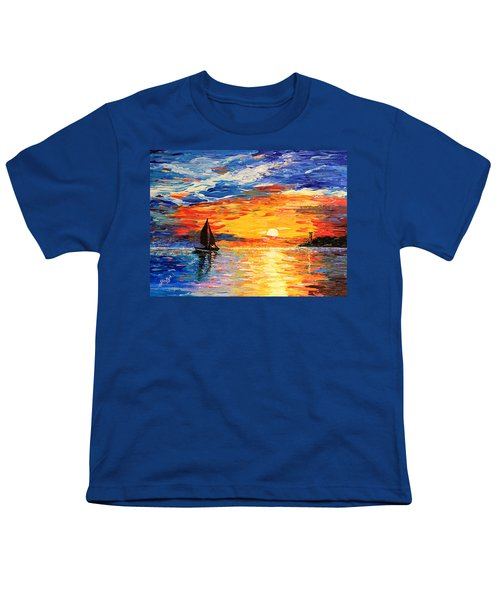 Youth T-Shirt featuring the painting Romantic Sea Sunset by Georgeta  Blanaru