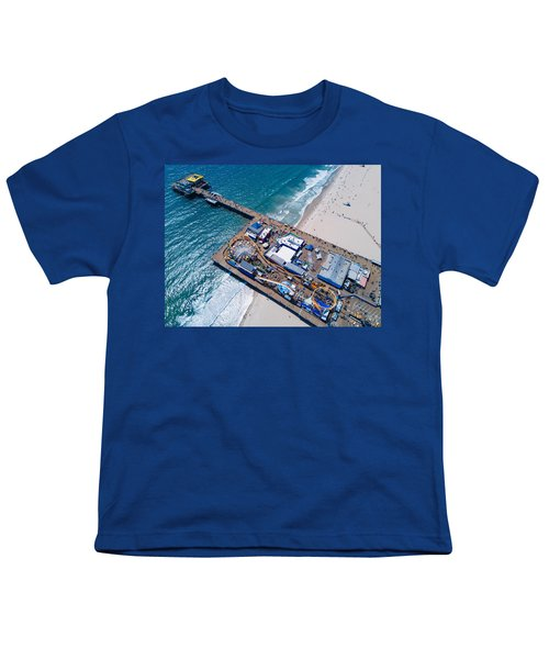 Santa Monica Pier From Above Side Youth T-Shirt