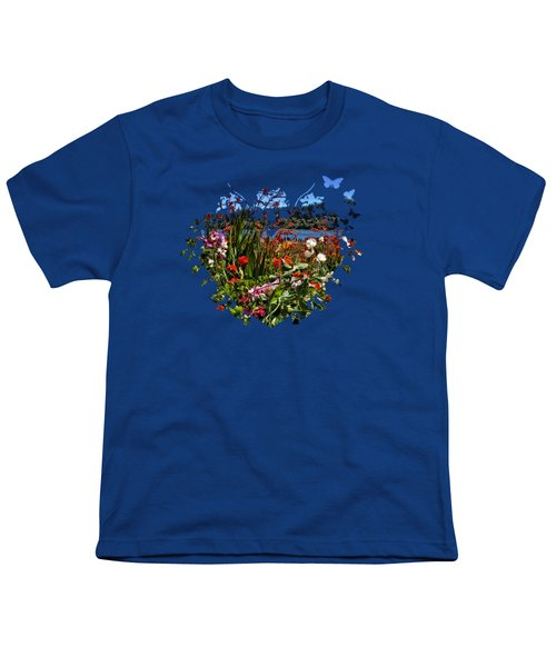 Siuslaw River Floral Youth T-Shirt by Thom Zehrfeld