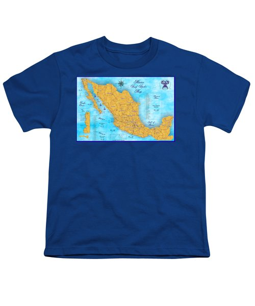 Mexico Surf Map  Youth T-Shirt