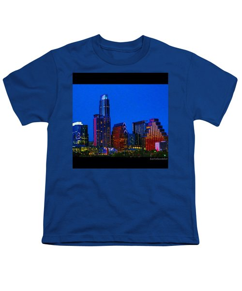 The #instaawesome #austin #skyline On A Youth T-Shirt by Austin Tuxedo Cat