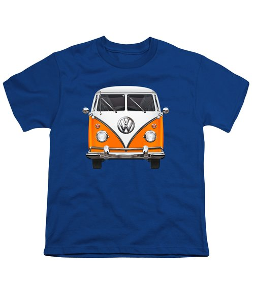 Volkswagen Type - Orange And White Volkswagen T 1 Samba Bus Over Blue Canvas Youth T-Shirt by Serge Averbukh