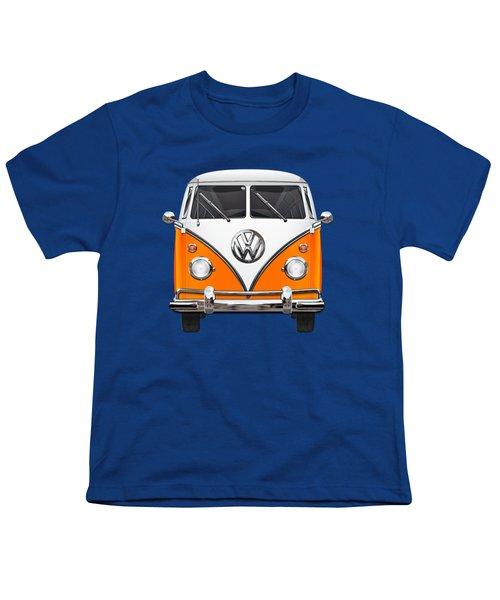 Volkswagen Type - Orange And White Volkswagen T 1 Samba Bus Over Blue Canvas Youth T-Shirt