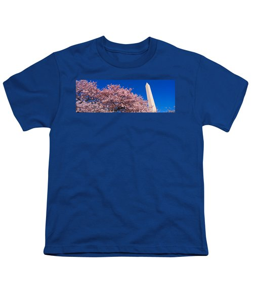 Washington Monument & Spring Cherry Youth T-Shirt by Panoramic Images