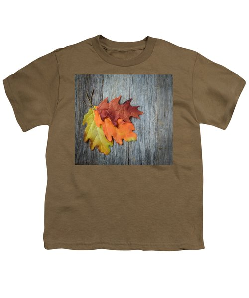 Autumn Leaves On Rustic Wooden Background Youth T-Shirt