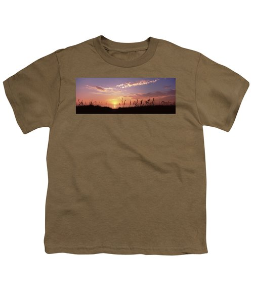 Sunset Over The Sea, Venice Beach Youth T-Shirt by Panoramic Images