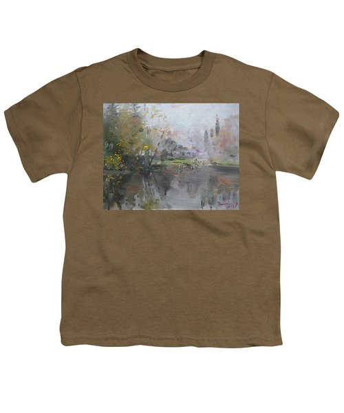 A Foggy Fall Day By The Pond  Youth T-Shirt