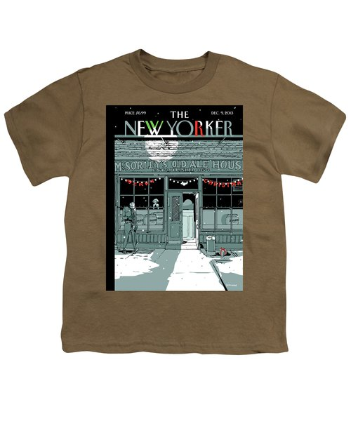 A Holiday Scene Outside The Bar Mcsorley's Youth T-Shirt