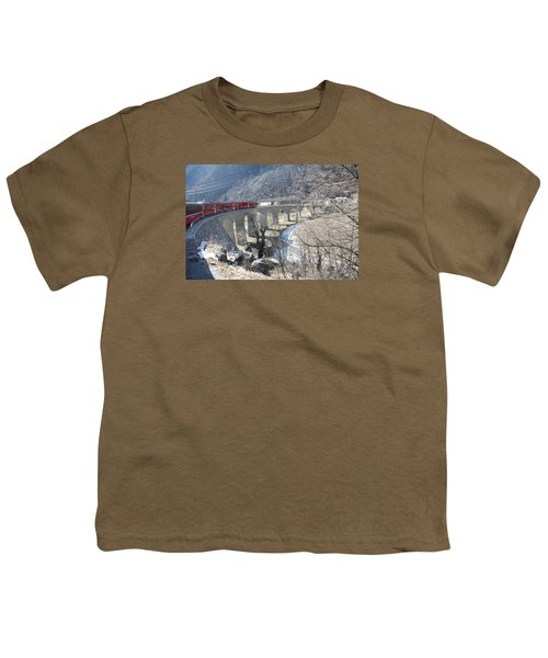 Youth T-Shirt featuring the photograph Bernina Express In Winter by Travel Pics