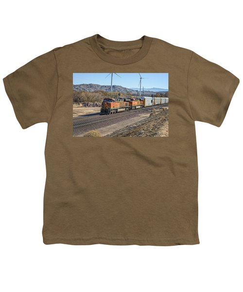 Youth T-Shirt featuring the photograph Bnsf 7454 by Jim Thompson