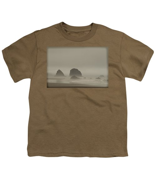 Youth T-Shirt featuring the photograph Cannon Beach In A Fog Oregon by Yulia Kazansky