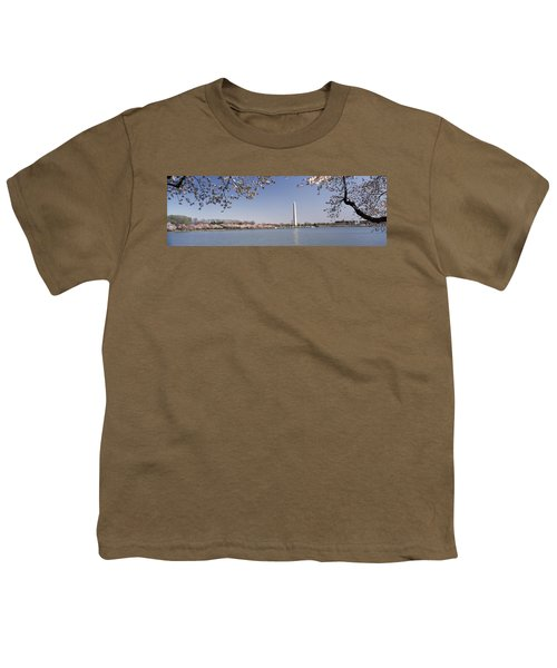 Cherry Blossom With Monument Youth T-Shirt by Panoramic Images
