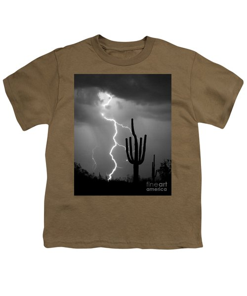 Giant Saguaro Cactus Lightning Strike Bw Youth T-Shirt