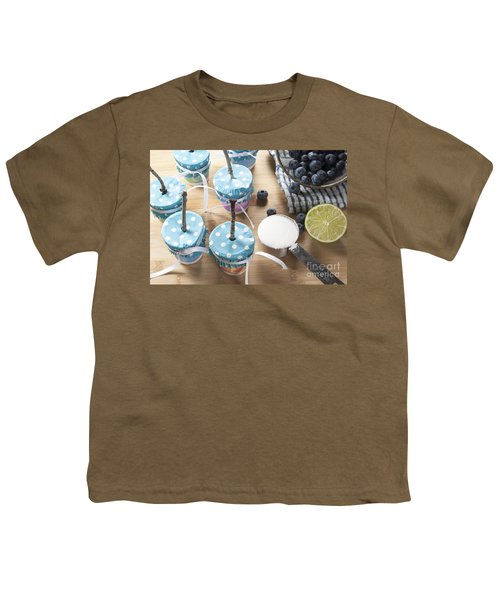 Homemade Blueberry Popsicles Youth T-Shirt by Juli Scalzi