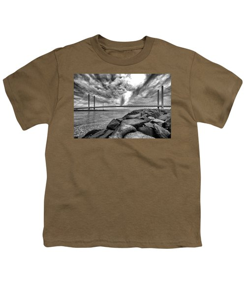 Indian River Bridge Clouds Black And White Youth T-Shirt