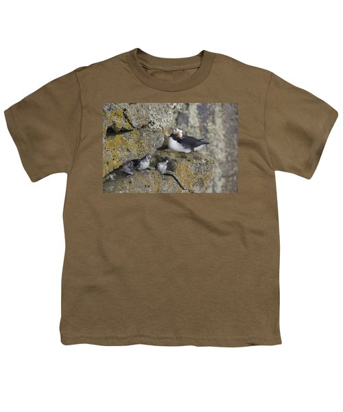 Least Auklets Perched On A Narrow Ledge Youth T-Shirt by Milo Burcham
