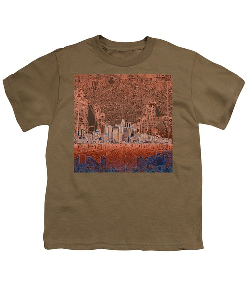 Los Angeles Skyline Abstract 7 Youth T-Shirt by Bekim Art