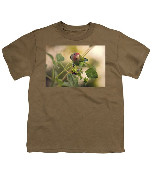 Lovebird On  Sunflower Branch  Youth T-Shirt by Saija  Lehtonen