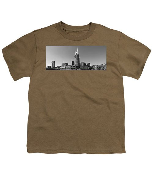 Nashville Tennessee Skyline Black And White Youth T-Shirt by Dan Sproul