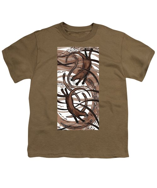 Otter With Eel, 2013 Woodcut Youth T-Shirt