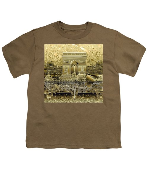 Paris Skyline Landmarks 4 Youth T-Shirt