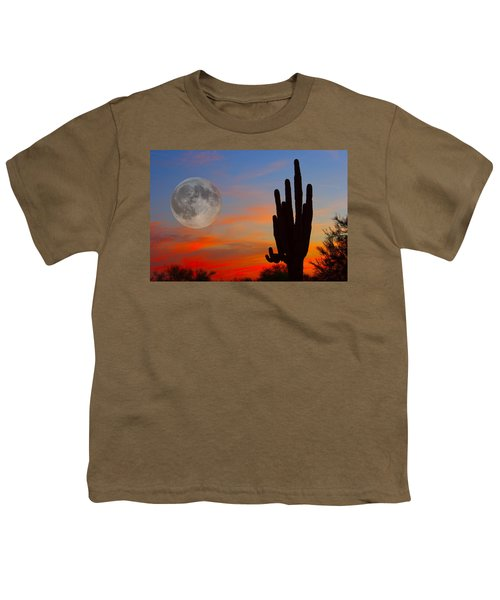 Saguaro Full Moon Sunset Youth T-Shirt
