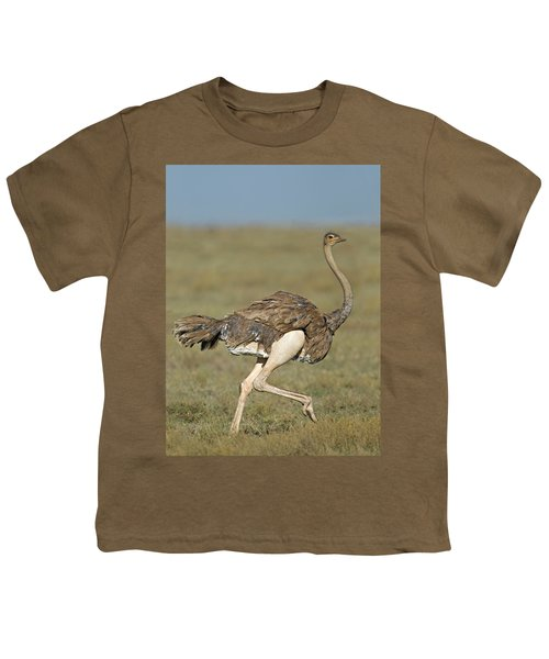 Side Profile Of An Ostrich Running Youth T-Shirt