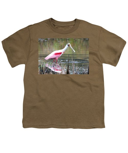 Spoonbill In The Pond Youth T-Shirt by Carol Groenen