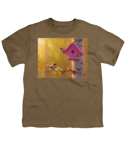 Spring Chickadees 1 - Birdhouse And Birch Forest Youth T-Shirt