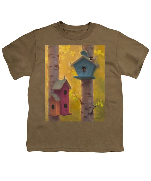 Spring Chickadees 2 - Birdhouse And Birch Forest Youth T-Shirt
